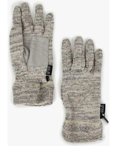 Бежевые перчатки текстильные Jack Wolfskin