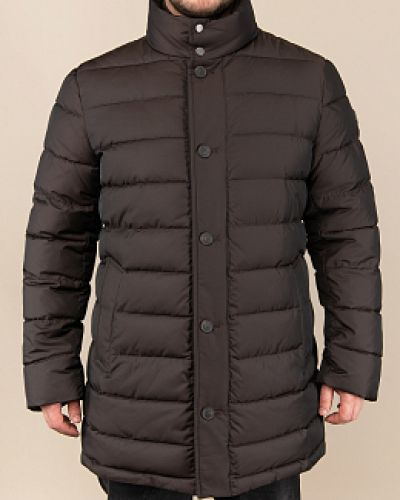 Коричневая утепленная куртка с воротником Madzerini