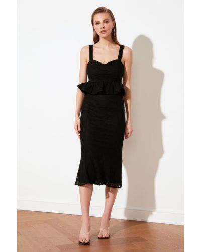 Czarna spódnica koronkowa sznurowana Trendyol