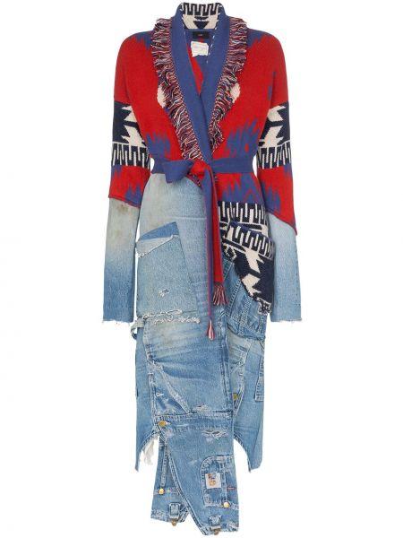 Красное кашемировое пальто с лацканами Alanui