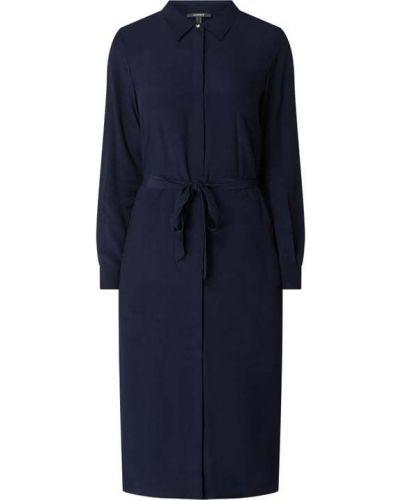 Niebieska sukienka z wiskozy zapinane na guziki Esprit Collection