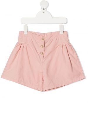 Хлопковые розовые с завышенной талией шорты Knot