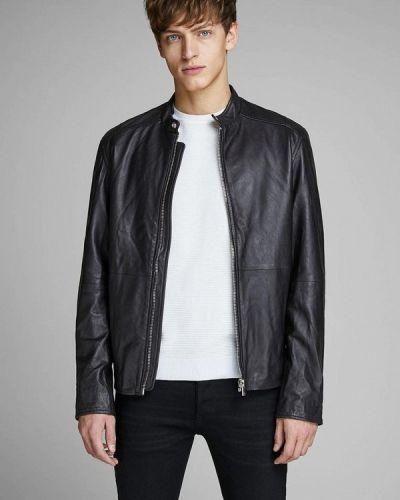 Кожаная куртка черная индийский Jack & Jones