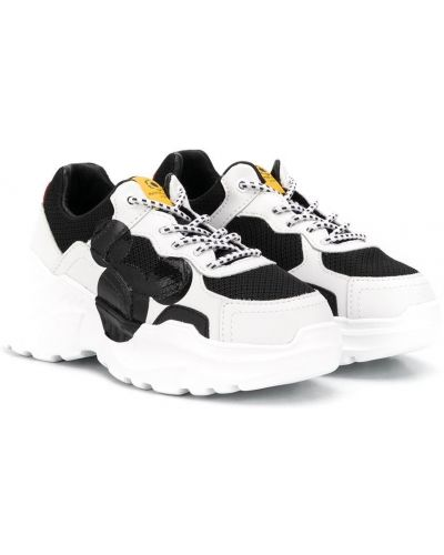 Кожаные массивные белые кроссовки на шнуровке Moa Kids