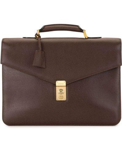 Skórzany brązowy teczka z kieszeniami z łatami Chanel Pre-owned