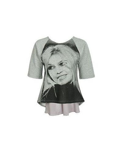 Хлопковая футболка - серая Brigitte Bardot