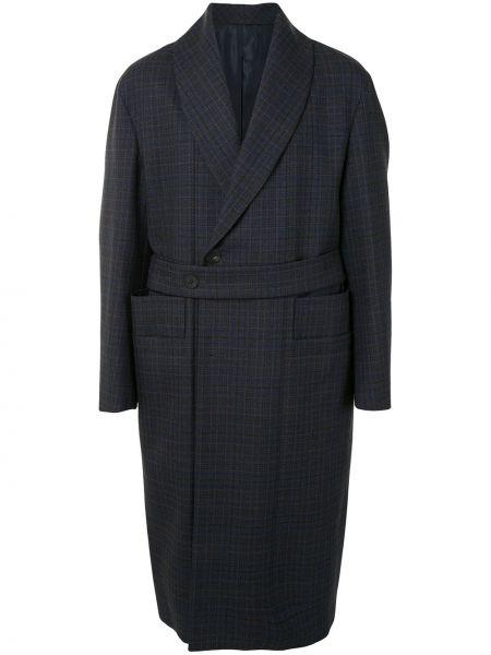 Синее шерстяное длинное пальто на пуговицах двубортное Wooyoungmi