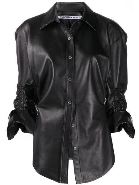 Czarna koszula z falbanami skórzana Alexander Wang