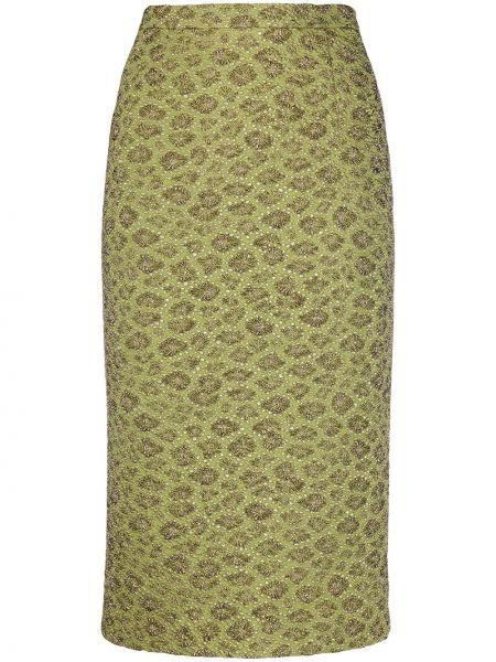 Зеленая юбка карандаш с вышивкой стрейч Rochas