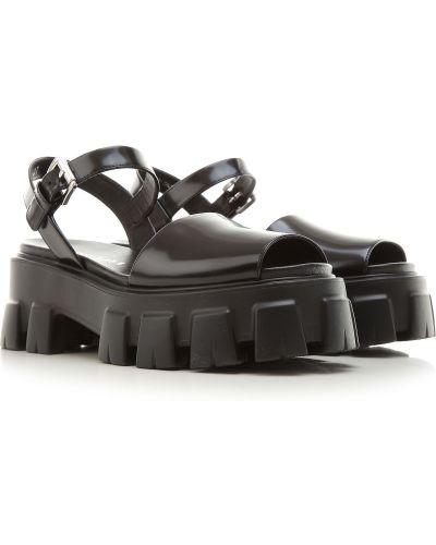 Czarne sandały skorzane Prada