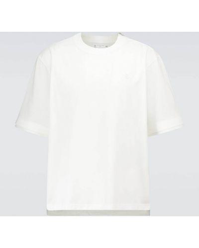 Biała bluza z haftem bawełniana Sacai