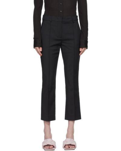Хлопковые черные укороченные брюки стрейч Sportmax