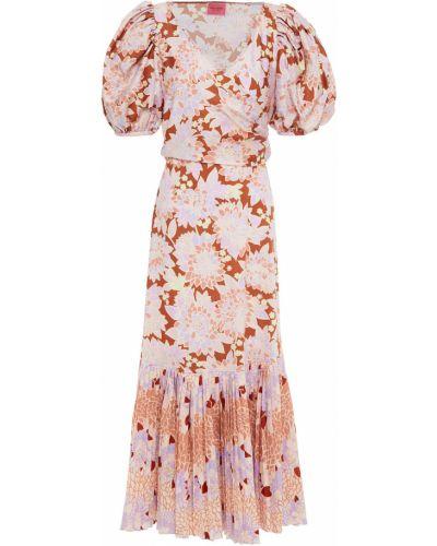 Плиссированное хлопковое коричневое платье миди Kate Spade New York