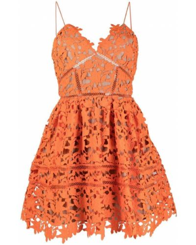 Оранжевое кружевное платье мини на бретелях Self-portrait