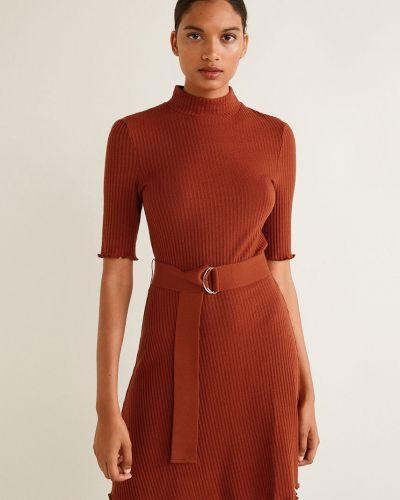 Платье мини с поясом в клетку Mango