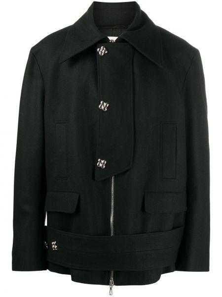 Черное шерстяное длинное пальто с воротником на кнопках Namacheko