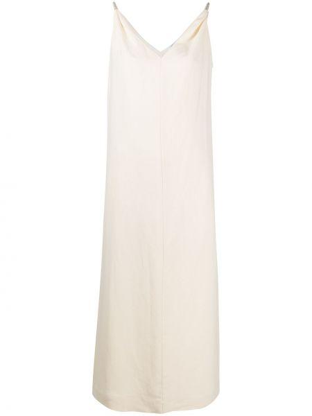 Свободное белое платье трапеция Brunello Cucinelli
