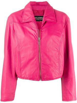 Розовая кожаная короткая куртка на молнии A.n.g.e.l.o. Vintage Cult