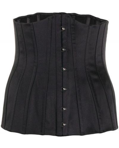 Черный шелковый корсет с поясом Dolce & Gabbana