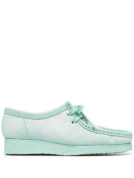 Зеленые замшевые туфли на шнурках Clarks Originals