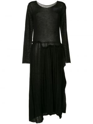 Шерстяное с рукавами черное платье макси Yohji Yamamoto