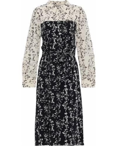 Плиссированное черное платье-рубашка с поясом Mikael Aghal
