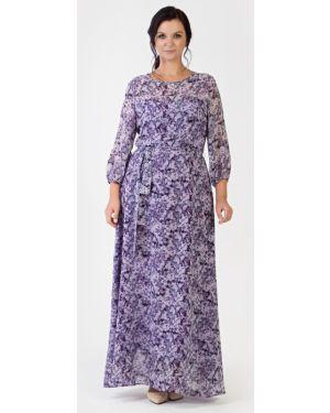 Вечернее с рукавами шифоновое вечернее платье на торжество Filigrana