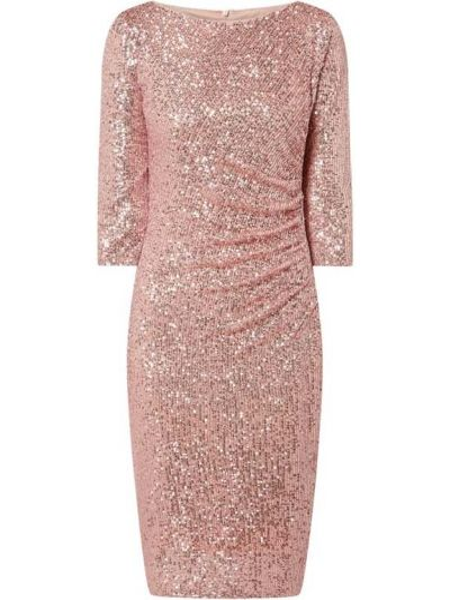 Różowa sukienka koktajlowa z cekinami Paradi