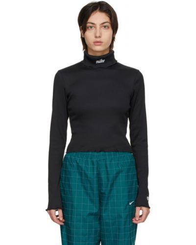 Czarny golf z długimi rękawami z haftem Nike
