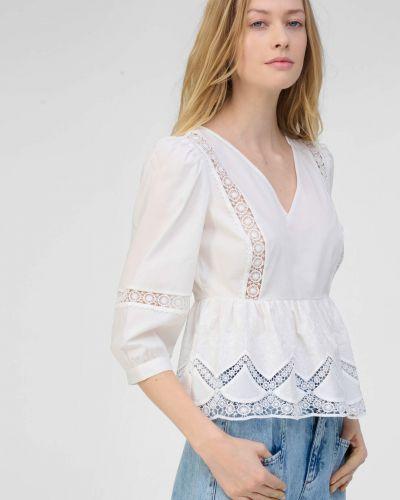 Ażurowa bluzka z haftem bawełniana Orsay