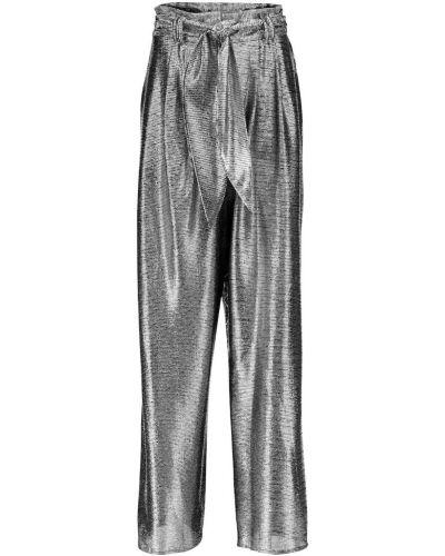 Srebro bezpłatne cięcie spodnie metal bezpłatne cięcie Christopher Kane