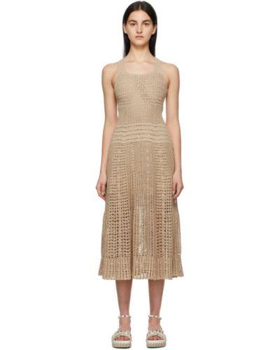 Бежевое платье макси без рукавов с воротником Loro Piana
