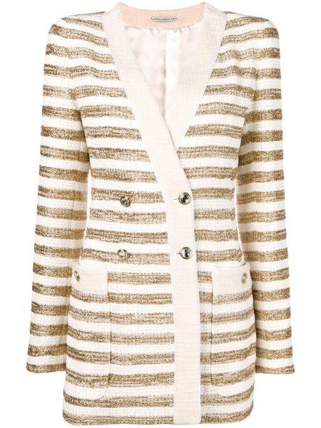 Желтый приталенный пиджак двубортный Alessandra Rich