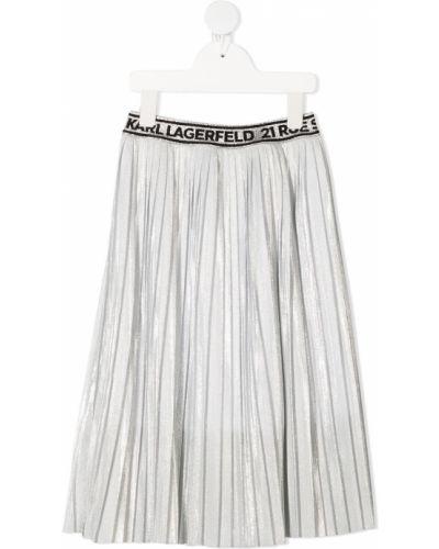 Серебряная плиссированная юбка миди из вискозы Karl Lagerfeld Kids