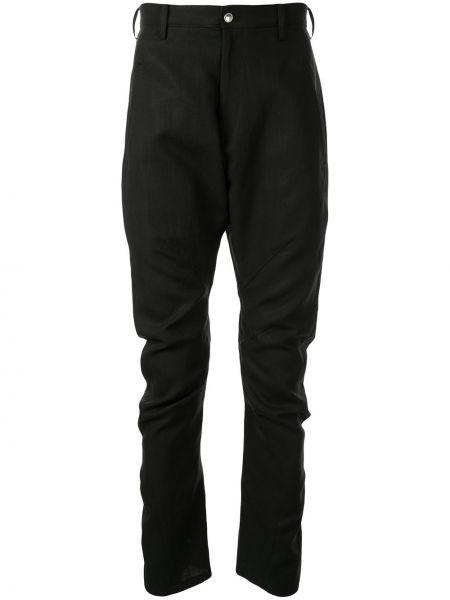Czarne spodnie z paskiem zapinane na guziki Sulvam