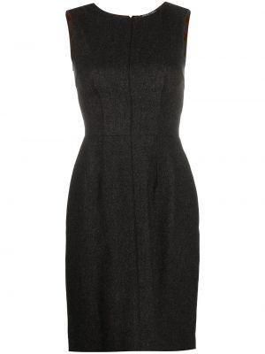 Серое приталенное платье без рукавов из вискозы Dolce & Gabbana Pre-owned