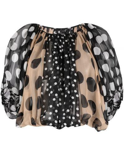 Шелковая блузка в горошек с короткими рукавами Dolce & Gabbana