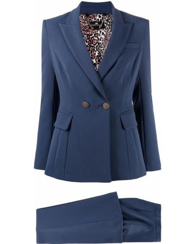 Niebieski kostium spodni garnitur z klapami z kieszeniami Elisabetta Franchi