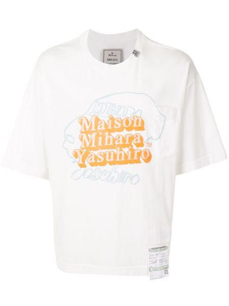 Белая хлопковая футболка свободного кроя с круглым вырезом Maison Mihara Yasuhiro