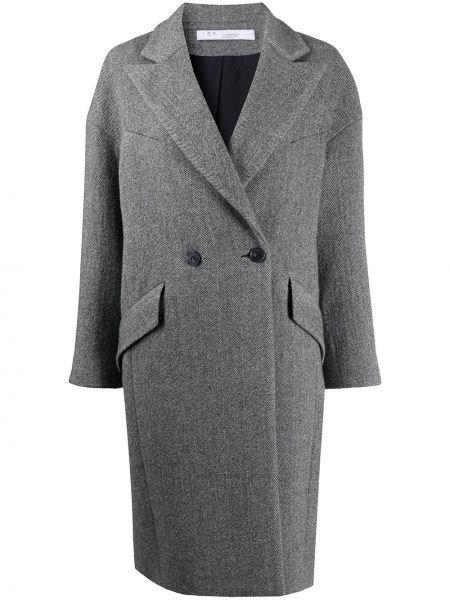 Черное шерстяное длинное пальто с лацканами с карманами Iro