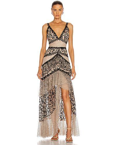 Кружевное платье макси - черное Patbo