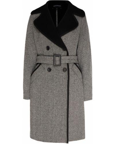 Пальто серое шерстяное Emporio Armani