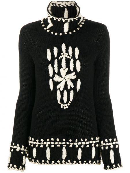 Кашемировый черный вязаный свитер с вышивкой Ermanno Scervino