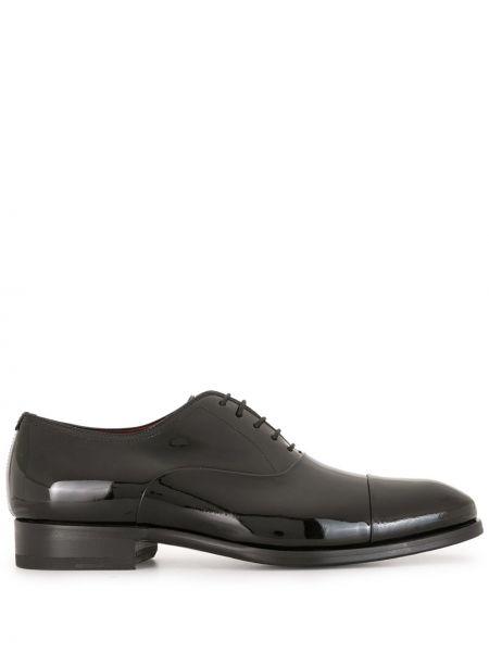 Лаковые кожаные черные туфли на шнуровке на каблуке Magnanni
