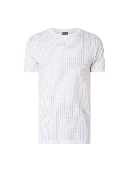 Biały t-shirt w paski bawełniany Mister Tee