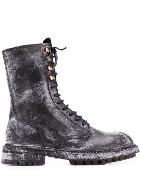 Czarny buty skórzane zasznurować okrągły nos z prawdziwej skóry Dolce And Gabbana