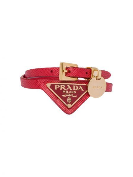 Skórzany bransoletka ze złota złoto Prada