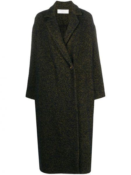 Синее длинное пальто оверсайз из альпаки Société Anonyme
