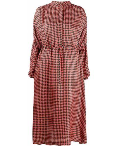 Оранжевое шелковое платье с вырезом круглое Odeeh