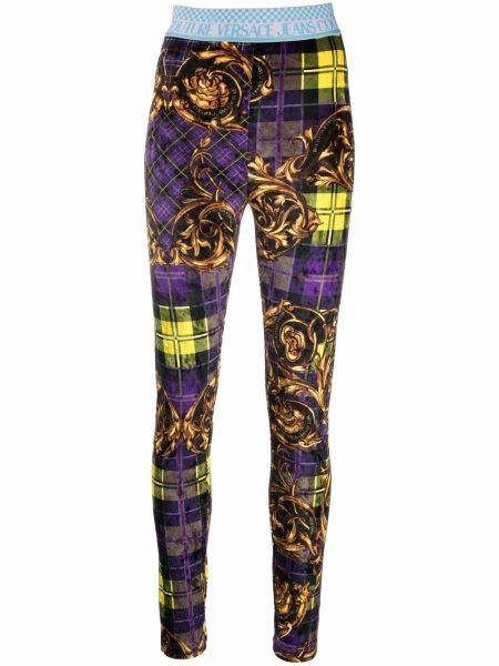 Fioletowe spodnie w kratę Versace Jeans Couture